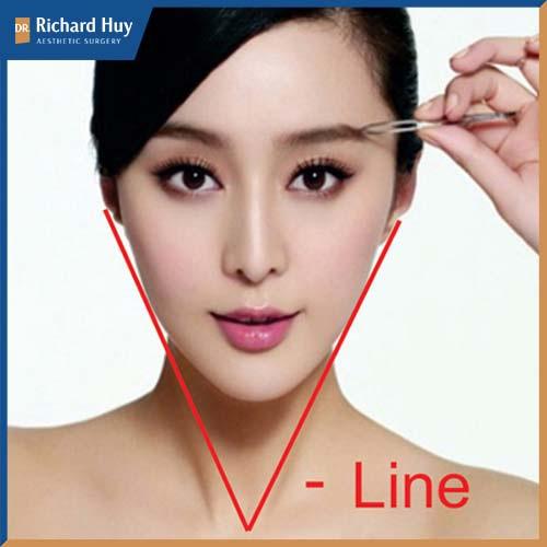 Gương mặt chuẩn Vline có dáng cằm chữ V, mũi môi và cằm nằm trên đường thẳng